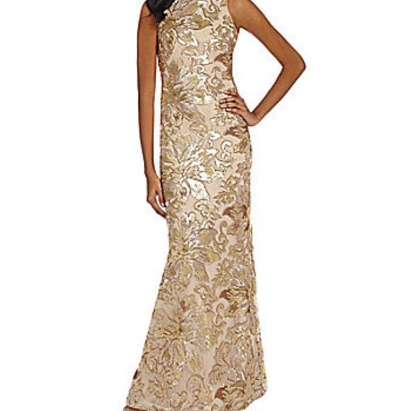 "30f8eb5768f8 Badgley Mischka Dresses & Skirts - Badgley Mischka ""Belle"" Gold Floral  Sequin Gown"